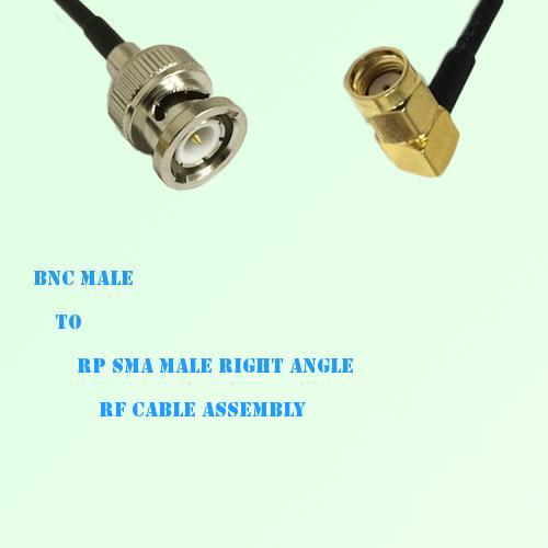 BNC Male to RP SMA Male Right Angle RF Cable Assembly