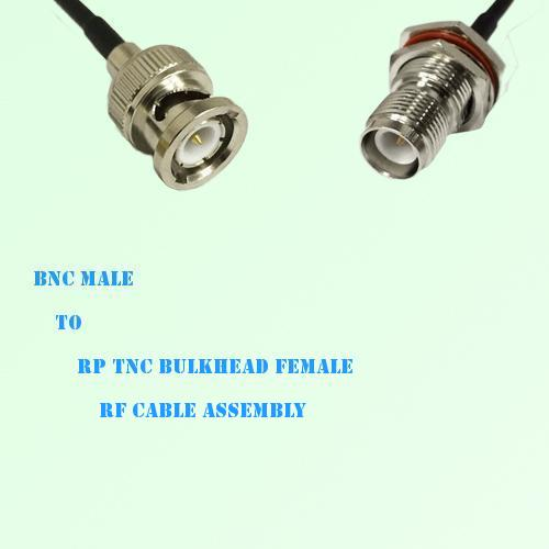BNC Male to RP TNC Bulkhead Female RF Cable Assembly
