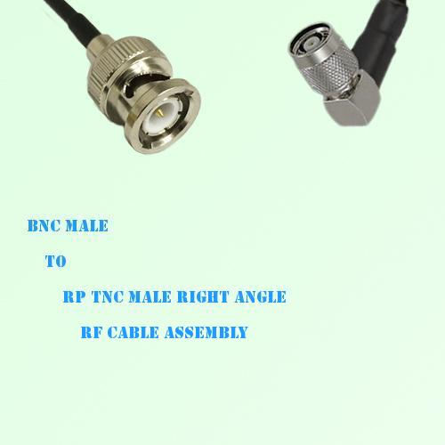 BNC Male to RP TNC Male Right Angle RF Cable Assembly