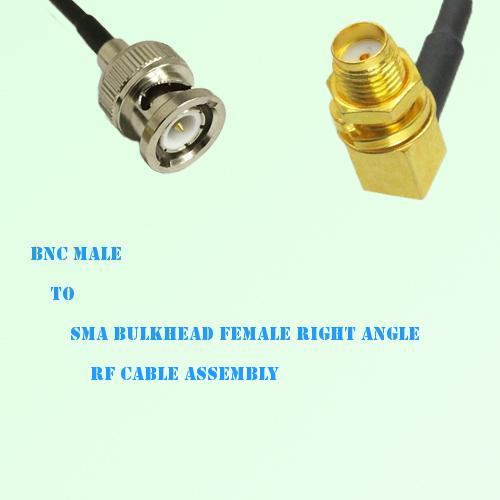 BNC Male to SMA Bulkhead Female Right Angle RF Cable Assembly