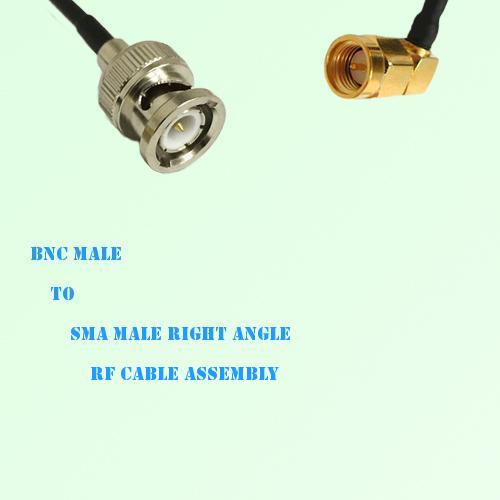 BNC Male to SMA Male Right Angle RF Cable Assembly