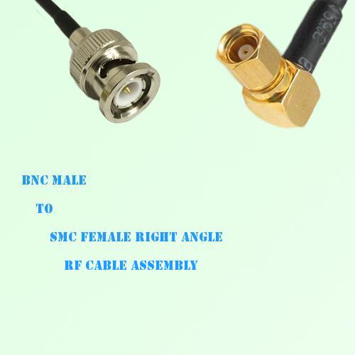 BNC Male to SMC Female Right Angle RF Cable Assembly
