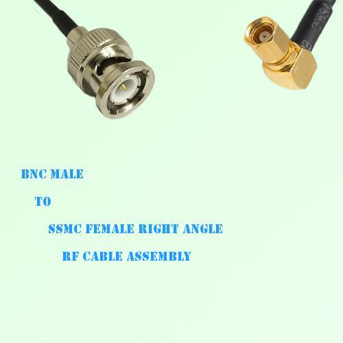 BNC Male to SSMC Female Right Angle RF Cable Assembly