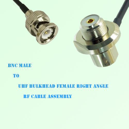 BNC Male to UHF Bulkhead Female Right Angle RF Cable Assembly