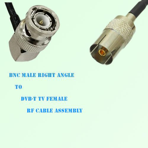 BNC Male Right Angle to DVB-T TV Female RF Cable Assembly