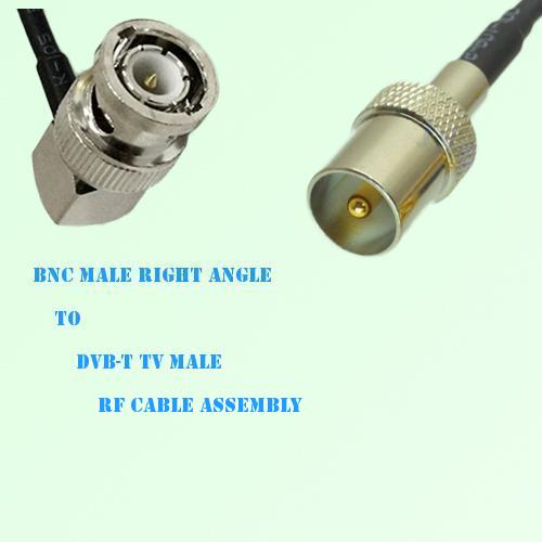 BNC Male Right Angle to DVB-T TV Male RF Cable Assembly