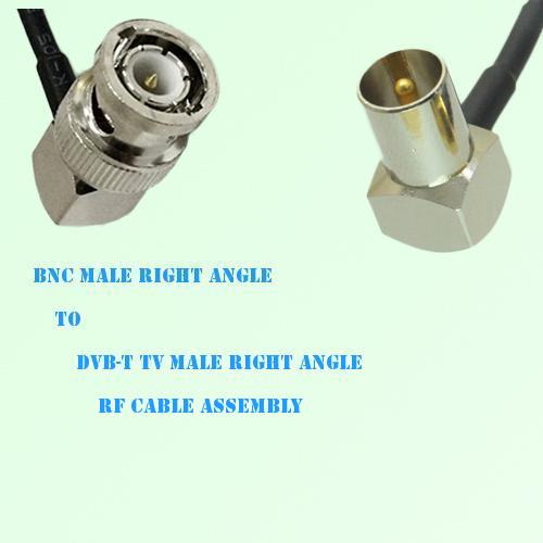 BNC Male Right Angle to DVB-T TV Male Right Angle RF Cable Assembly