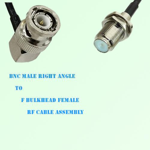 BNC Male Right Angle to F Bulkhead Female RF Cable Assembly