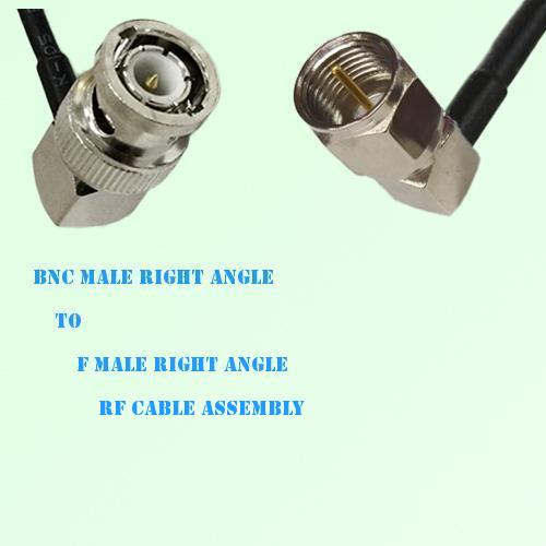BNC Male Right Angle to F Male Right Angle RF Cable Assembly