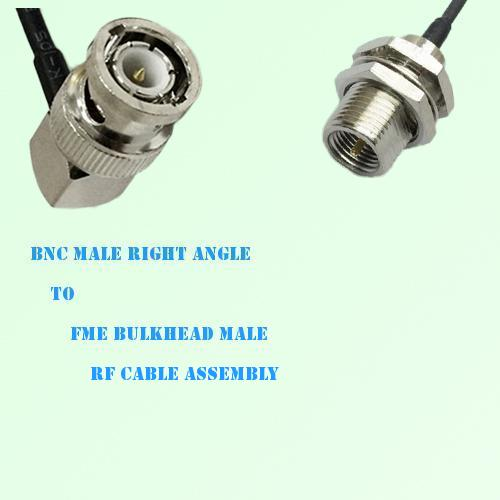 BNC Male Right Angle to FME Bulkhead Male RF Cable Assembly