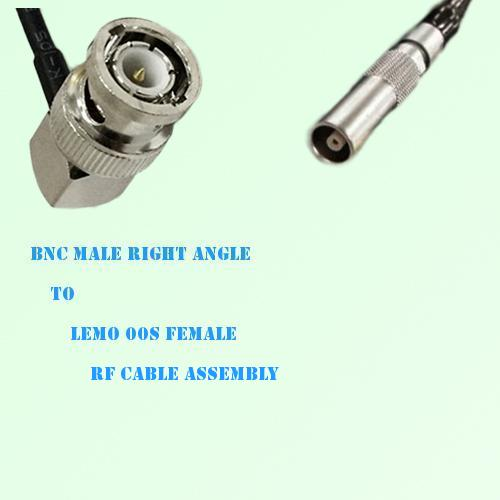 BNC Male Right Angle to Lemo FFA 00S Female RF Cable Assembly