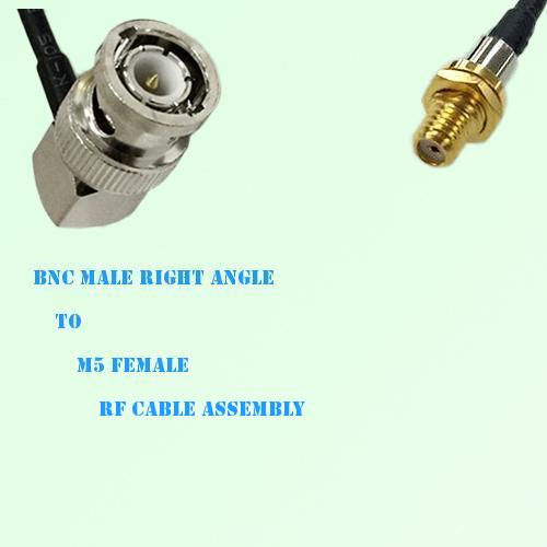 BNC Male Right Angle to Microdot 10-32 M5 Female RF Cable Assembly