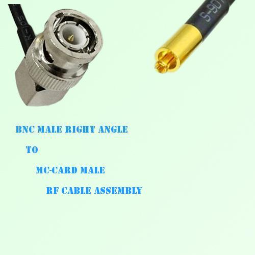 BNC Male Right Angle to MC-Card Male RF Cable Assembly