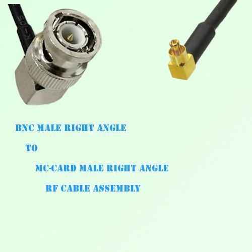 BNC Male Right Angle to MC-Card Male Right Angle RF Cable Assembly