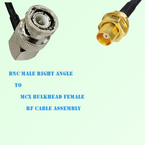 BNC Male Right Angle to MCX Bulkhead Female RF Cable Assembly