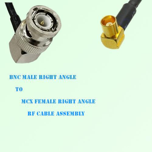 BNC Male Right Angle to MCX Female Right Angle RF Cable Assembly