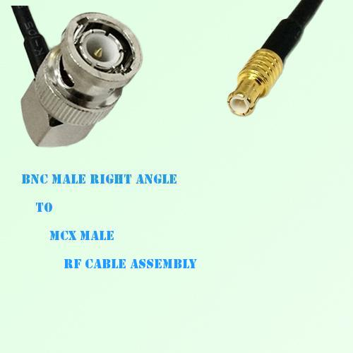 BNC Male Right Angle to MCX Male RF Cable Assembly