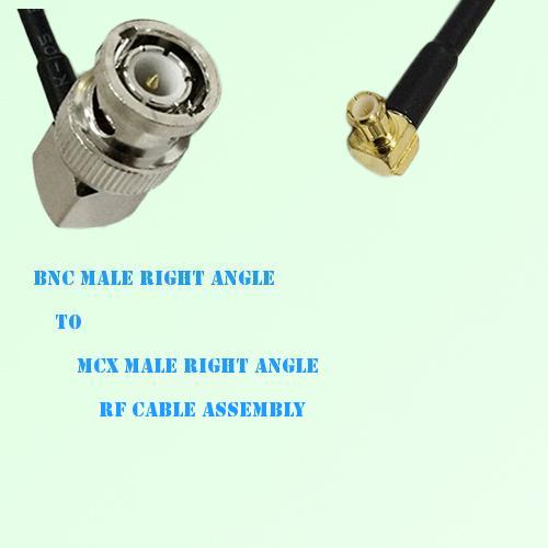 BNC Male Right Angle to MCX Male Right Angle RF Cable Assembly