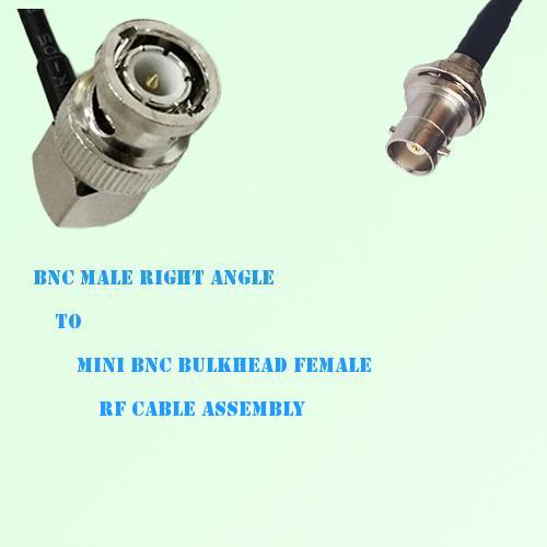 BNC Male Right Angle to Mini BNC Bulkhead Female RF Cable Assembly