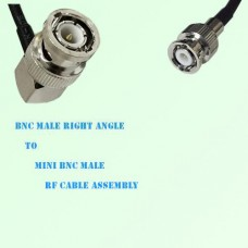 BNC Male Right Angle to Mini BNC Male RF Cable Assembly