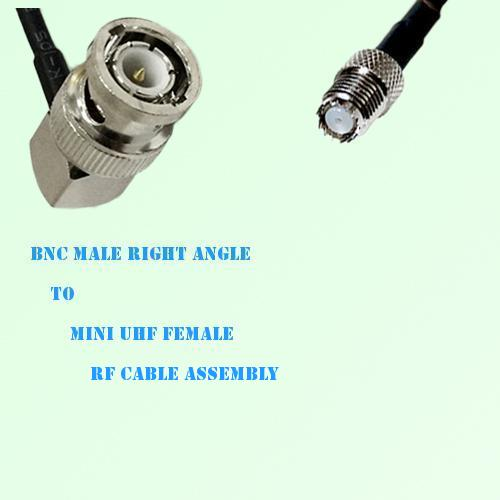 BNC Male Right Angle to Mini UHF Female RF Cable Assembly
