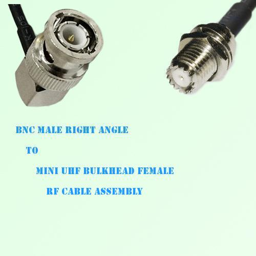 BNC Male Right Angle to Mini UHF Bulkhead Female RF Cable Assembly