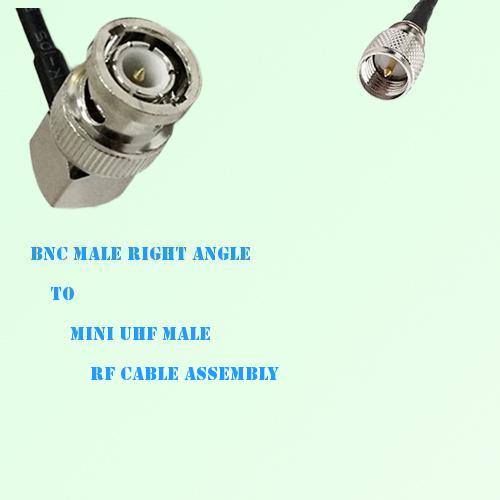 BNC Male Right Angle to Mini UHF Male RF Cable Assembly