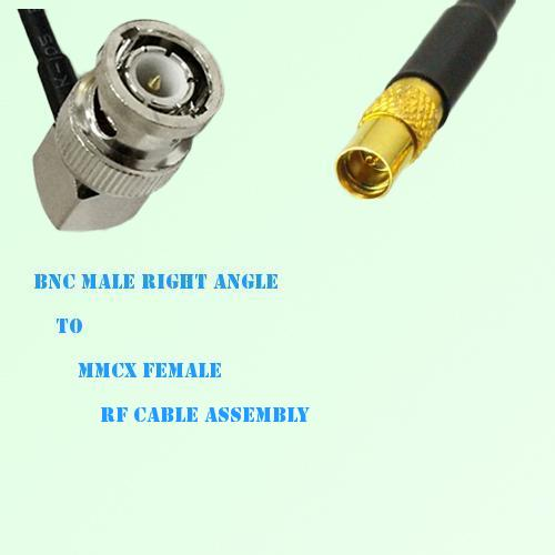 BNC Male Right Angle to MMCX Female RF Cable Assembly