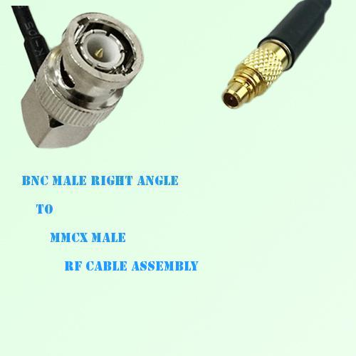BNC Male Right Angle to MMCX Male RF Cable Assembly