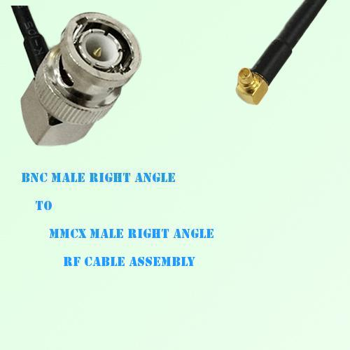 BNC Male Right Angle to MMCX Male Right Angle RF Cable Assembly