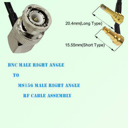 BNC Male Right Angle to MS156 Male Right Angle RF Cable Assembly