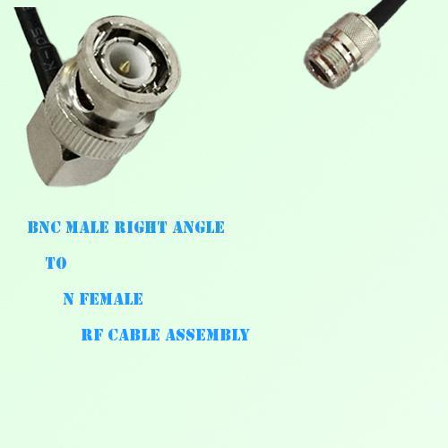 BNC Male Right Angle to N Female RF Cable Assembly