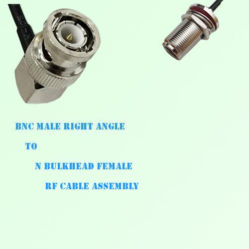 BNC Male Right Angle to N Bulkhead Female RF Cable Assembly