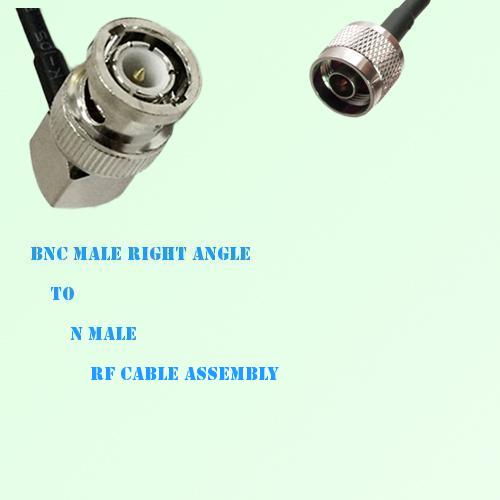 BNC Male Right Angle to N Male RF Cable Assembly