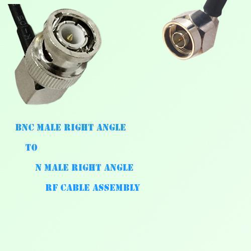 BNC Male Right Angle to N Male Right Angle RF Cable Assembly