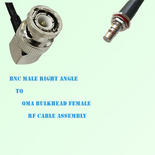 BNC Male Right Angle to QMA Bulkhead Female RF Cable Assembly