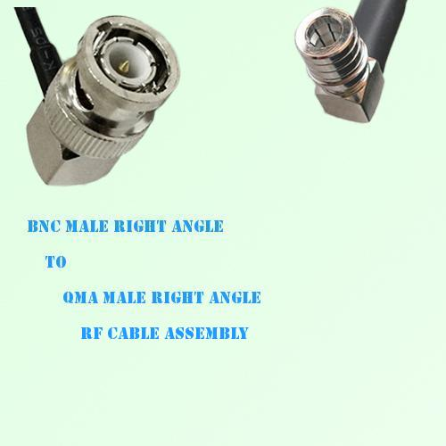 BNC Male Right Angle to QMA Male Right Angle RF Cable Assembly