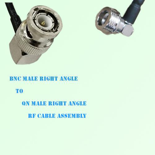 BNC Male Right Angle to QN Male Right Angle RF Cable Assembly