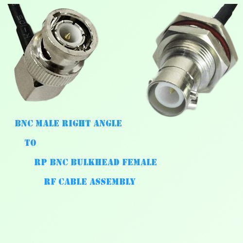 BNC Male Right Angle to RP BNC Bulkhead Female RF Cable Assembly