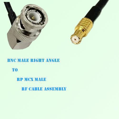BNC Male Right Angle to RP MCX Male RF Cable Assembly