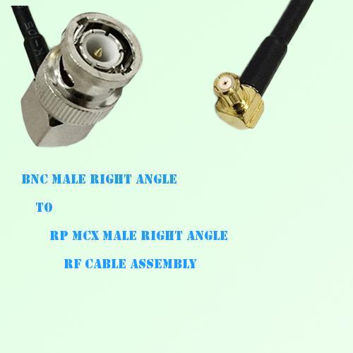 BNC Male Right Angle to RP MCX Male Right Angle RF Cable Assembly