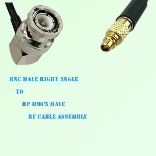 BNC Male Right Angle to RP MMCX Male RF Cable Assembly