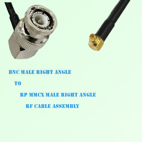 BNC Male Right Angle to RP MMCX Male Right Angle RF Cable Assembly
