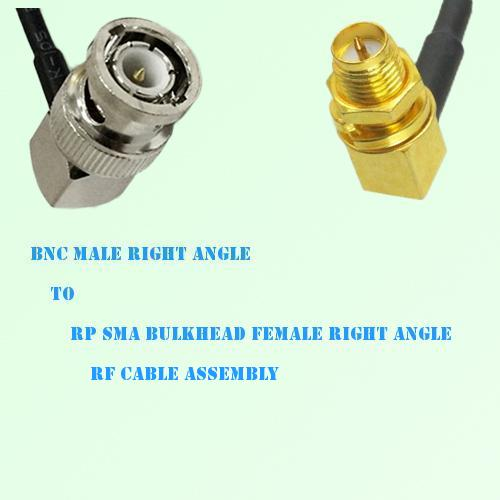 BNC Male R/A to RP SMA Bulkhead Female R/A RF Cable Assembly