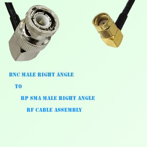 BNC Male Right Angle to RP SMA Male Right Angle RF Cable Assembly