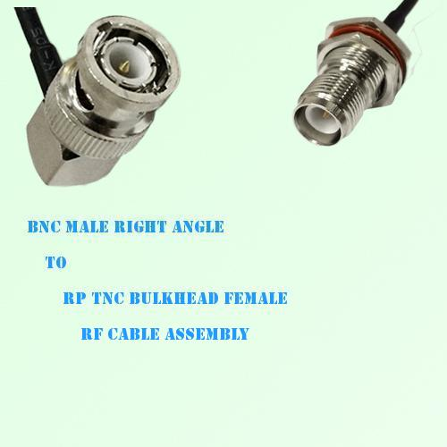 BNC Male Right Angle to RP TNC Bulkhead Female RF Cable Assembly