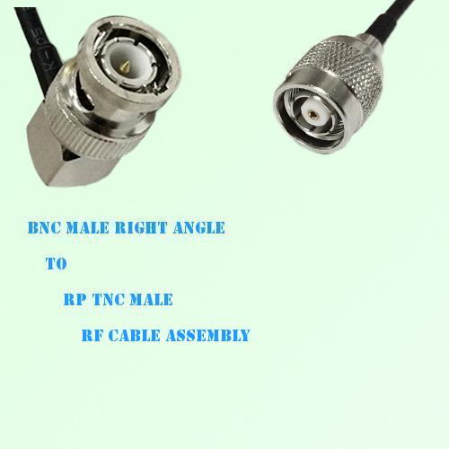 BNC Male Right Angle to RP TNC Male RF Cable Assembly