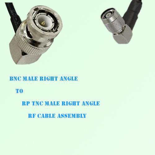 BNC Male Right Angle to RP TNC Male Right Angle RF Cable Assembly