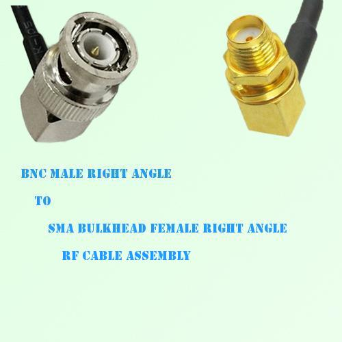 BNC Male R/A to SMA Bulkhead Female R/A RF Cable Assembly