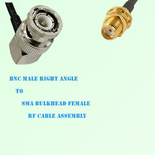 BNC Male Right Angle to SMA Bulkhead Female RF Cable Assembly